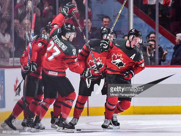 Thomas Chabot of Team Canada celebrates his first period goal with teammates during the 2017 IIHF World Junior Championship gold medal game against...