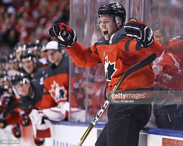 Thomas Chabot of Team canada celebrates his goal against Team USA during a preliminary round game in the 2017 IIHF World Junior Hockey Championship...