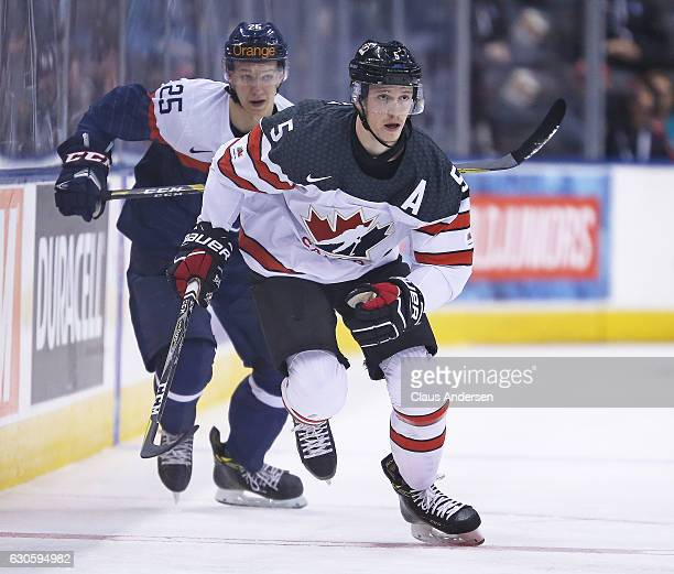Thomas Chabot of Team Canada skates against Team Slovakia during a preliminary game in the 2017 IIHF World Junior Hockey Championship at the Air...