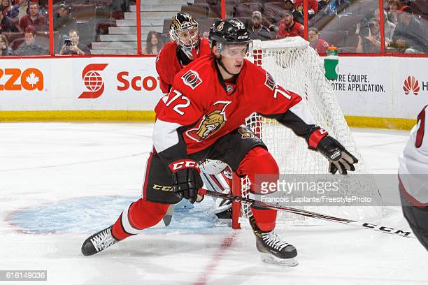 Thomas Chabot of the Ottawa Senators defends against the Arizona Coyotes during his first career NHL game at Canadian Tire Centre on October 18 2016...
