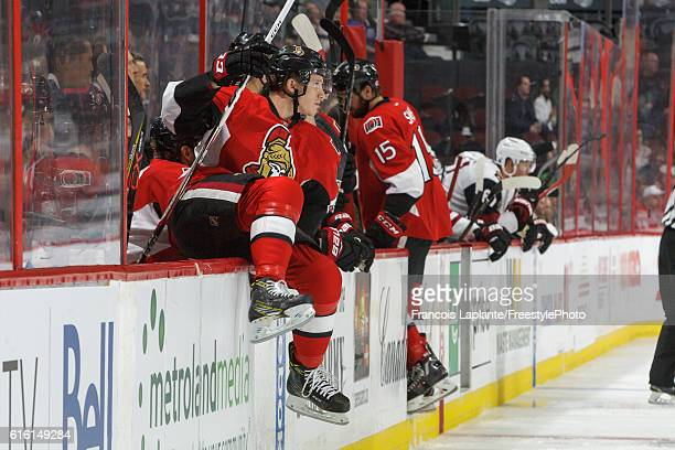 Thomas Chabot of the Ottawa Senators jumps over the boards for his first shift during his first career NHL game in a game against the Arizona Coyotes...