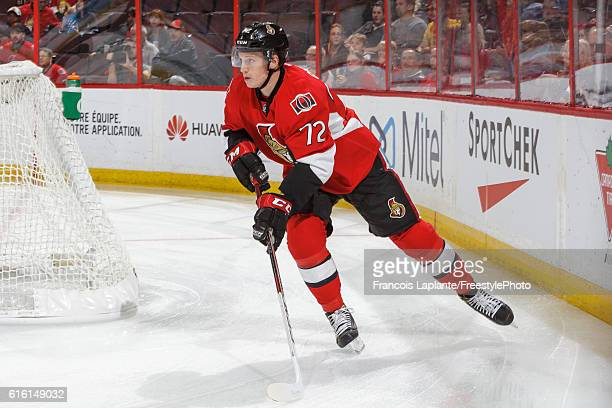 Thomas Chabot of the Ottawa Senators skates against the Arizona Coyotes during his first career NHL game at Canadian Tire Centre on October 18 2016...