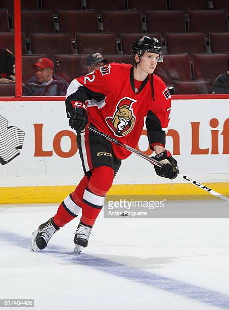 Thomas Chabot of the Ottawa Senators skates in warmup prior to a game against the Arizona Coyotes at Canadian Tire Centre on October 18 2016 in...