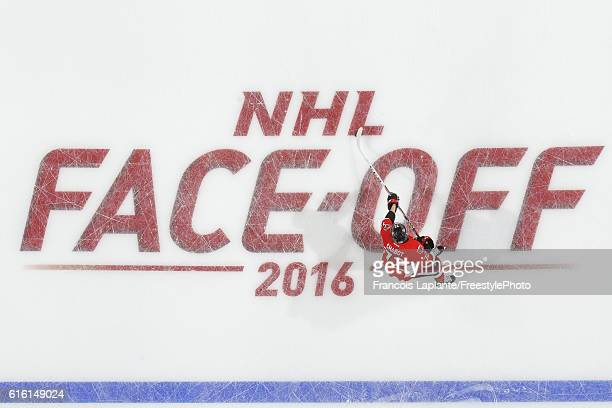 Thomas Chabot of the Ottawa Senators skates over an in ice logo during warmup prior to his first career NHL game against the Arizona Coyotes at...