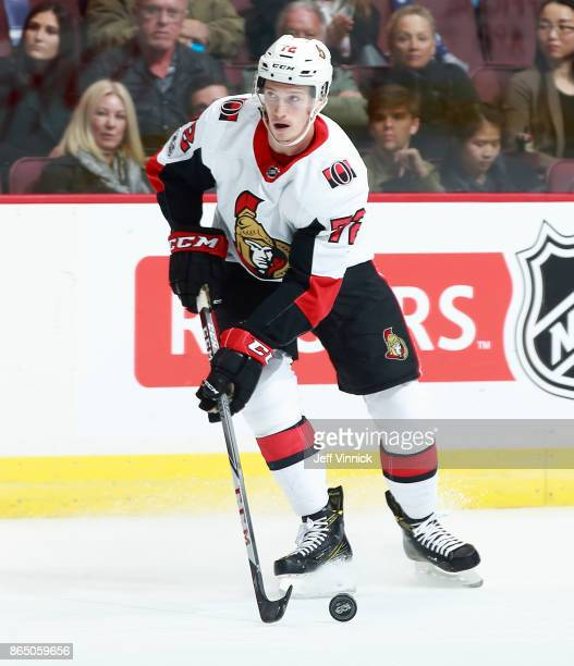 Thomas Chabot of the Ottawa Senators skates up ice during their NHL game against the Vancouver Canucks at Rogers Arena October 10 2017 in Vancouver...