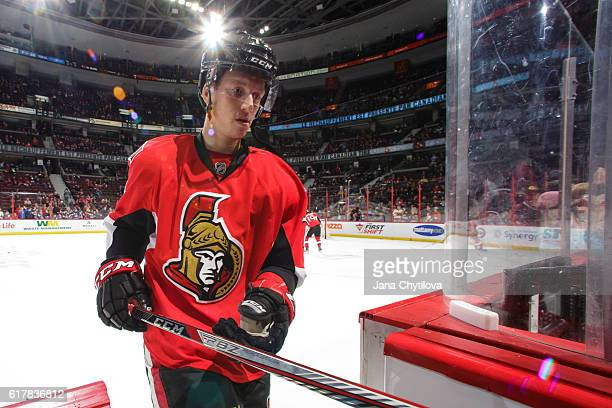 Thomas Chabot of the Ottawa Senators steps off the ice during the warmup skate prior to the start of a game against the Tampa Bay Lightning at...