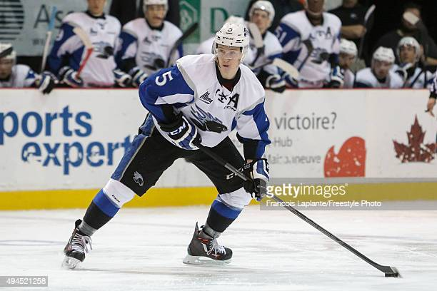 Thomas Chabot of the Saint John Sea Dogs skates with the puck against the Gatineau Olympiques on October 18 2015 at Robert Guertin Arena in Gatineau...