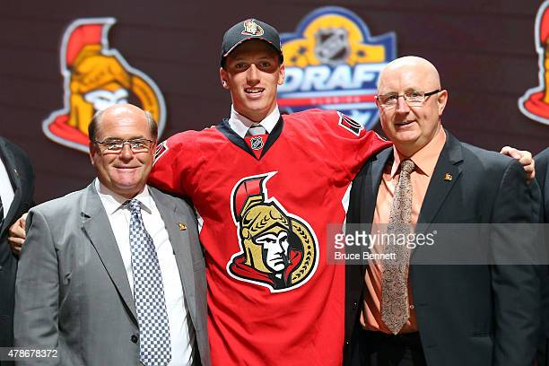 Thomas Chabot poses after being selected 18th overall by the Ottawa Senators in the first round of the 2015 NHL Draft at BBT Center on June 26 2015...