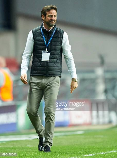 Thomas Christiansen head coach of Apoel FC looks on during the UEFA Champions League Playoff match between FC Copenhagen and Apoel FC at Telia Parken...