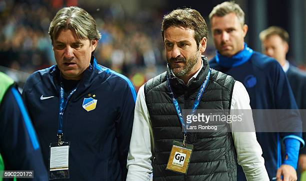 Thomas Christiansen head coach of Apoel FC walks off the pitch during halftime in the UEFA Champions League playoff 1st leg match between FC...