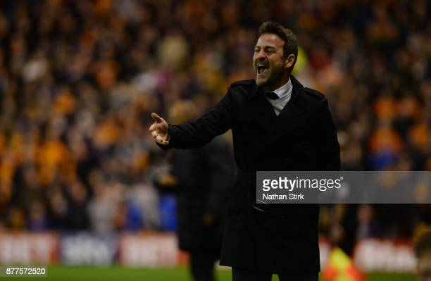 Thomas Christiansen manager of Leeds United during the Sky Bet Championship match between Wolverhampton Wanderers and Leeds United at Molineux on...