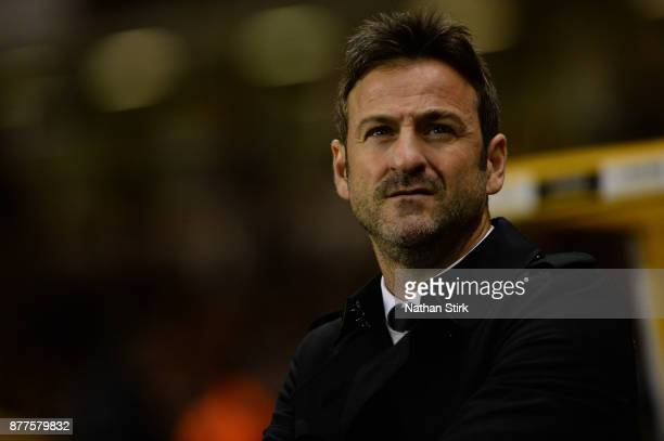 Thomas Christiansen manager of Leeds United looks on during the Sky Bet Championship match between Wolverhampton Wanderers and Leeds United at...
