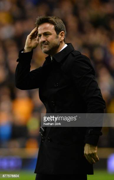 Thomas Christiansen manager of Leeds United scratches his head during the Sky Bet Championship match between Wolverhampton Wanderers and Leeds United...