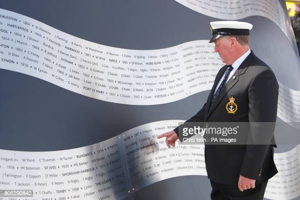 Thomas Cocking Coxwain of the St Ives Lifeboat looks at the names of his grandfather and great uncles who died at sea during a rescue attempt in 1939...