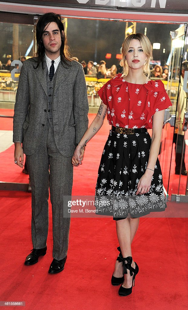 Thomas Cohen (L) and <a gi-track='captionPersonalityLinkClicked' href=/galleries/search?phrase=Peaches+Geldof&family=editorial&specificpeople=211378 ng-click='$event.stopPropagation()'>Peaches Geldof</a> attend the UK Premiere of 'The Wolf Of Wall Street' at Odeon Leicester Square on January 9, 2014 in London, England.