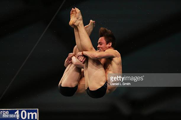 Thomas Daley and Daniel Goodfellow compete in the Men 10m Synchro finals during day one of the British Diving Championships 2016 at Ponds Forge on...