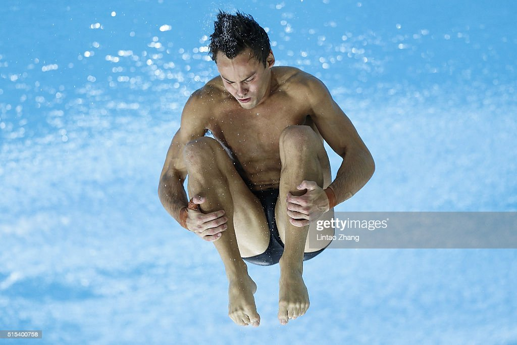 Thomas Daley of Great Britain compete in the Men's 10m Synchro Final during day three of the FINA/NVC Diving World Series 2016 Beijing Station at the National aquatics center-Water Cube on March 13, 2016 in Beijing, China.
