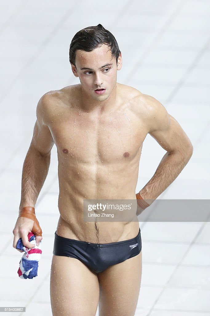 Thomas Daley of Great Britain looks on after competing in the Men's 10m Synchro Final during day three of the FINA/NVC Diving World Series 2016 Beijing Station at the National aquatics center-Water Cube on March 13, 2016 in Beijing, China.