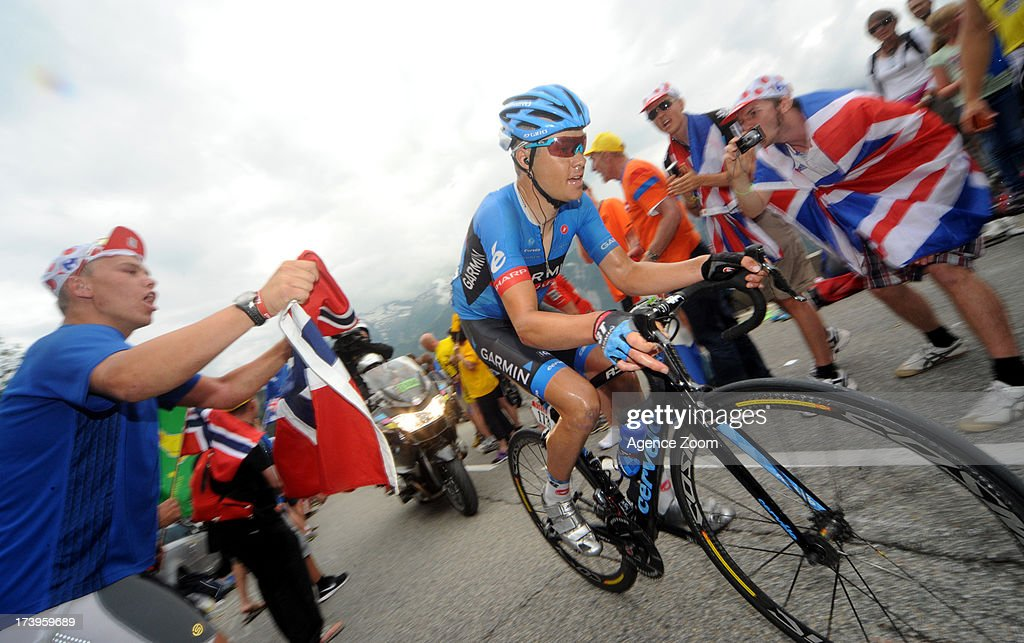 Thomas Danielson of Team Garmin-Sharp during Stage 18 of the Tour de France on July 18, 2013, Gap to Alpe-d'Huez, France..