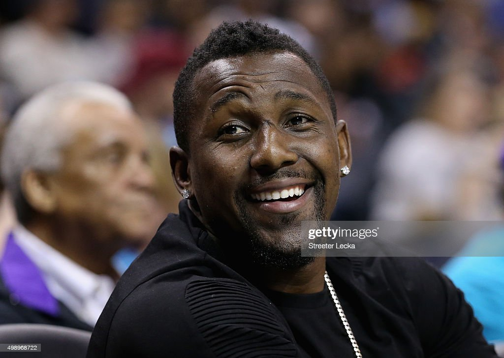 Thomas Davis linebacker for the Carolina Panthers watches on during the game between the Cleveland Cavaliers and Charlotte Hornets at Time Warner...