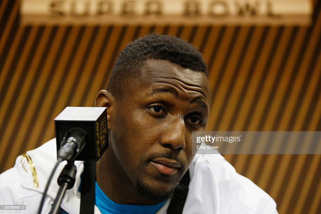 Thomas Davis of the Carolina Panthers addresses the media at Super Bowl Opening Night Fueled by Gatorade at SAP Center on February 1 2016 in San Jose...