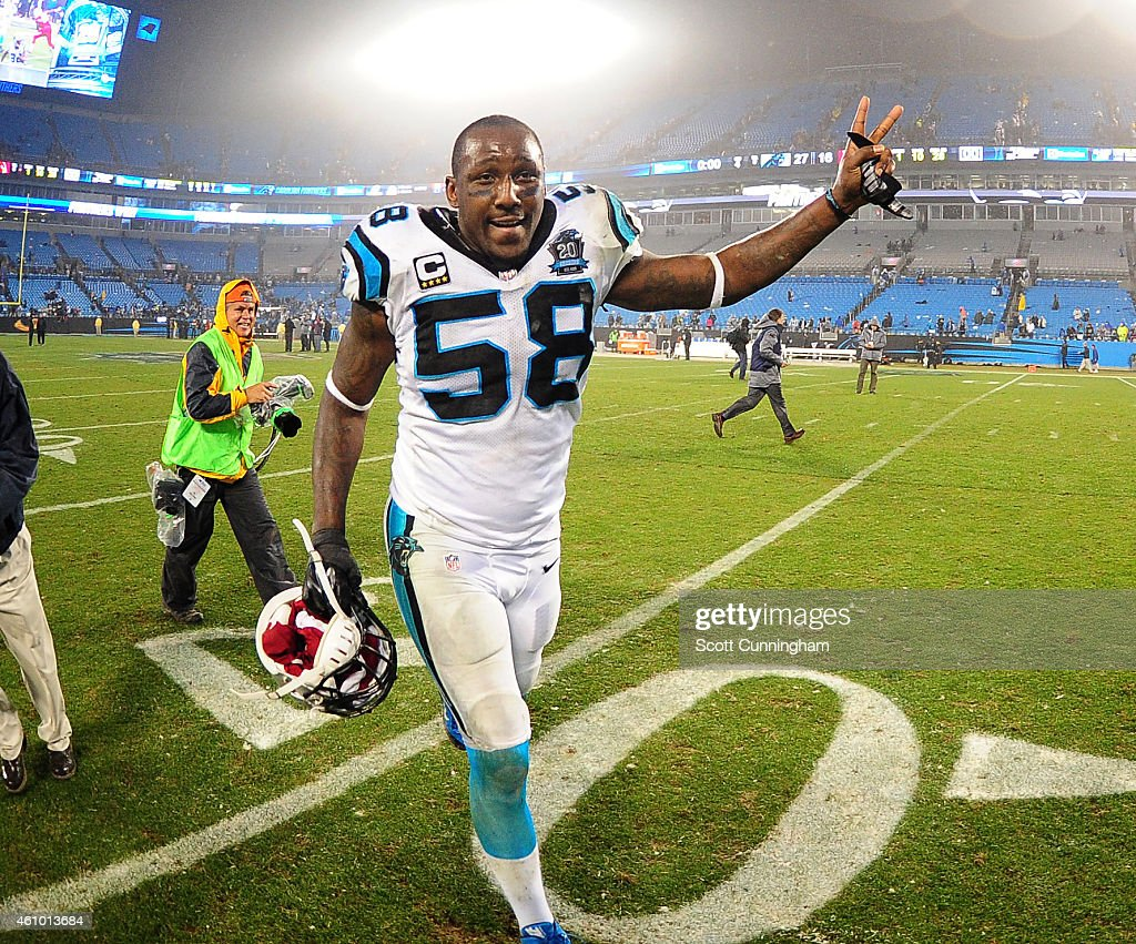Thomas Davis of the Carolina Panthers celebrates after the NFC Wild Card Playoff game against the Arizona Cardinals on January 3 2015 at Bank of...