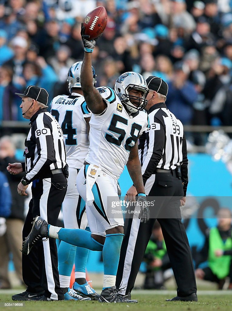Thomas Davis of the Carolina Panthers celebrates his onside kick recovery against the Seattle Seahawks in the 4th quarter during the NFC Divisional...