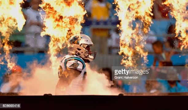 Thomas Davis of the Carolina Panthers is introduced during their preseason game against the Houston Texans at Bank of America Stadium on August 9...