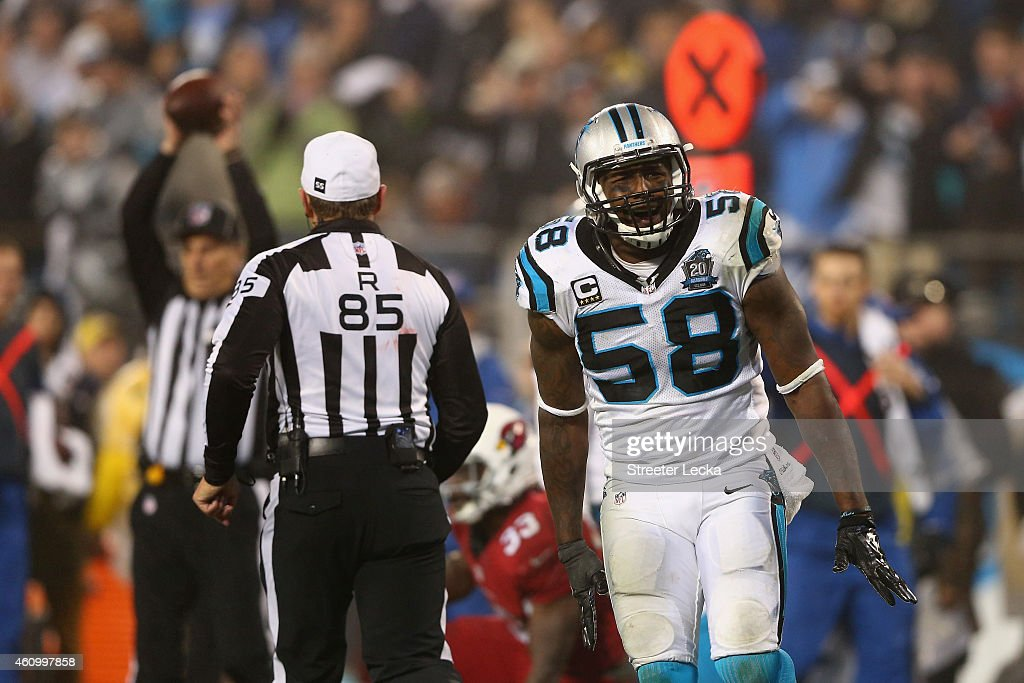 Thomas Davis of the Carolina Panthers reacts after a play against the Arizona Cardinals in the 2nd half during their NFC Wild Card Playoff game at...