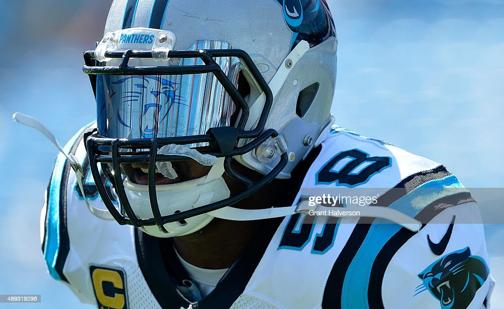 Thomas Davis of the Carolina Panthers shows off his Panthers logo visor before their game against the Houston Texans at Bank of America Stadium on...