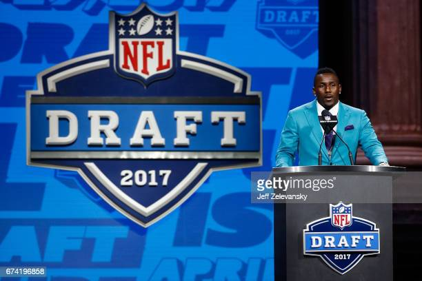 Thomas Davis of the Carolina Panthers speaks during the first round of the 2017 NFL Draft at the Philadelphia Museum of Art on April 27 2017 in...
