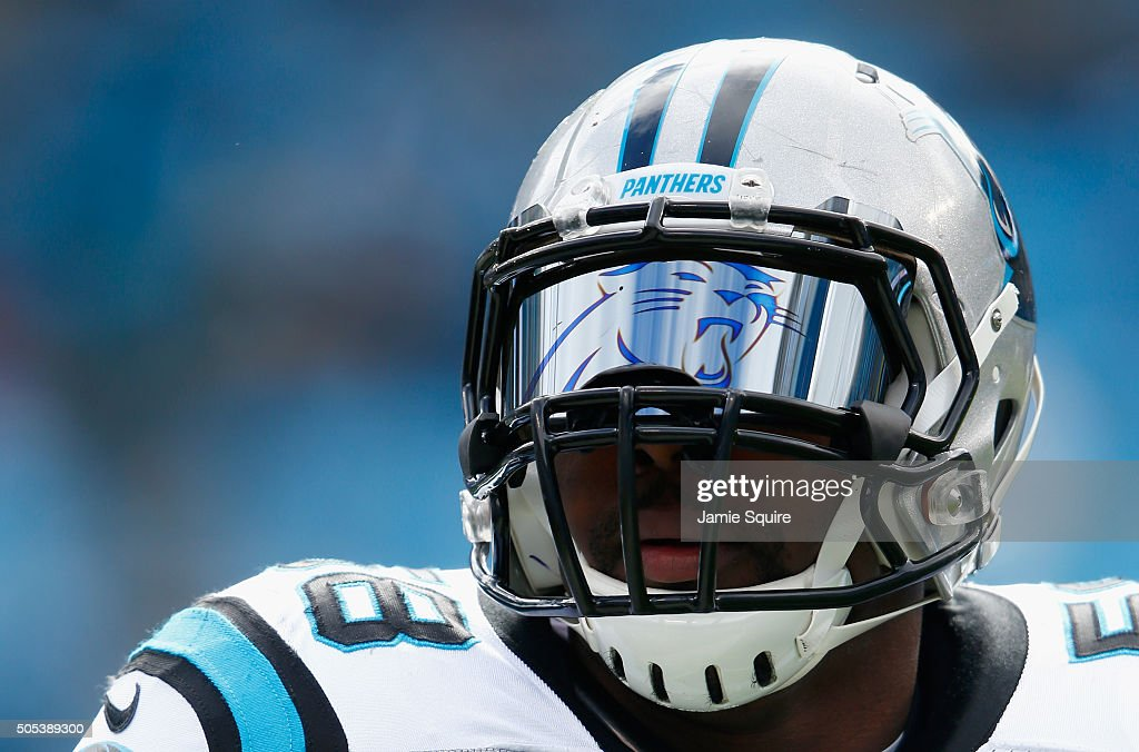 Thomas Davis of the Carolina Panthers wears a custom visor during the NFC Divisional Playoff Game against the Seattle Seahawks at Bank of America...