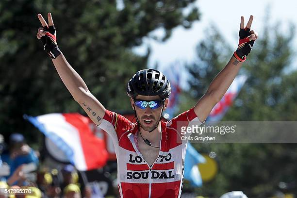 Thomas De Gendt of Belgium riding for Lotto Soudal celebrates as he wins stage twelve a 178km stage from Monpellier to ChaletReynard near the Mont...