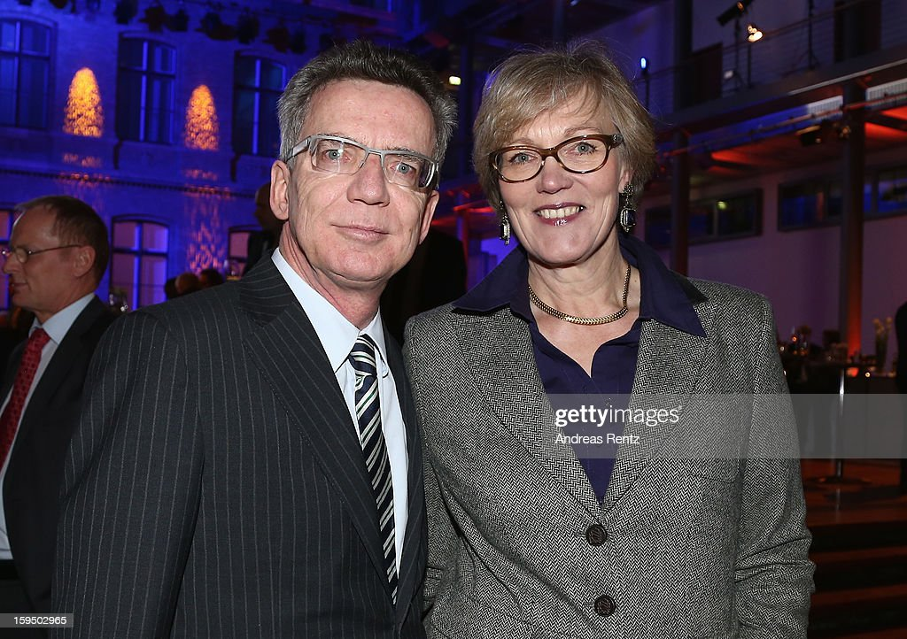 <a gi-track='captionPersonalityLinkClicked' href=/galleries/search?phrase=Thomas+de+Maiziere&family=editorial&specificpeople=618845 ng-click='$event.stopPropagation()'>Thomas de Maiziere</a> and Martina Maiziere attend the '8. Nacht der Sueddeutschen Zeitung' at Deutsche Telekom representative office on January 14, 2013 in Berlin, Germany.