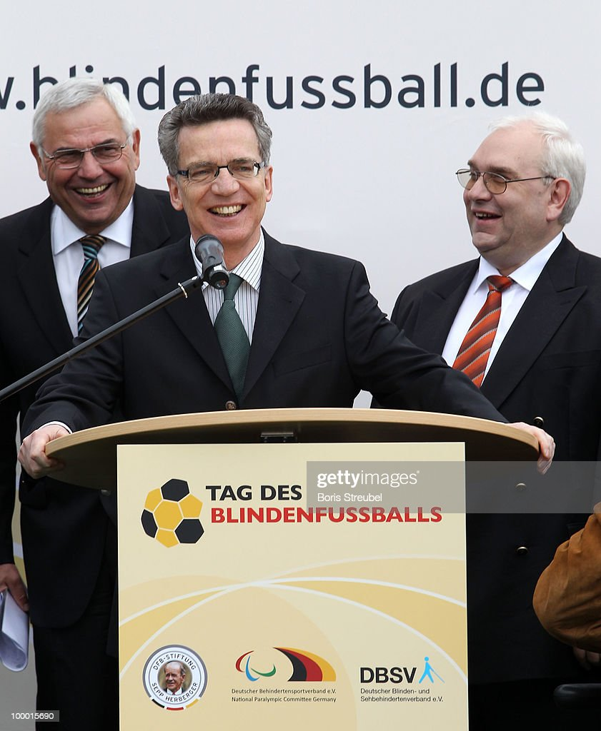 Thomas de Maiziere , German Interior Minister holds a speech on the 'Day of Blind Football�' in front of the Reichstag on May 20, 2010 in Berlin, Germany.