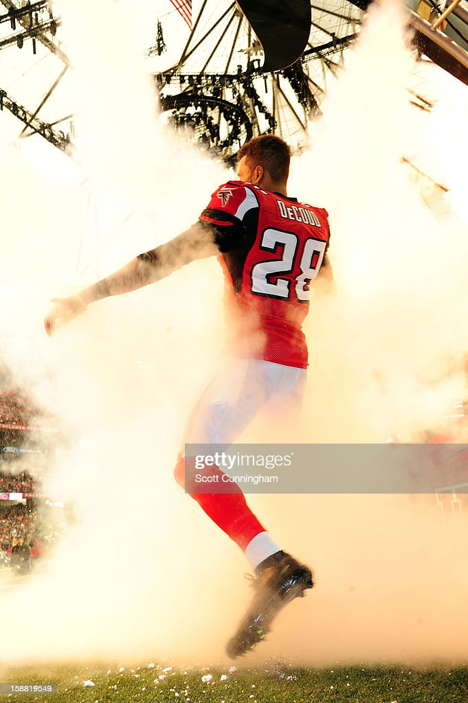 <a gi-track='captionPersonalityLinkClicked' href=/galleries/search?phrase=Thomas+DeCoud&family=editorial&specificpeople=4037323 ng-click='$event.stopPropagation()'>Thomas DeCoud</a> #28 of the Atlanta Falcons is introduced before the game against the Tampa Bay Buccaneers at the Georgia Dome on December 30, 2012 in Atlanta, Georgia