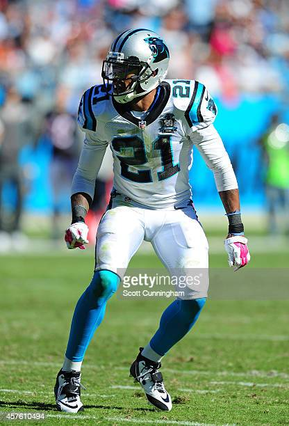 Thomas DeCoud of the Carolina Panthers defends against the Chicago Bears on October 5 2014 at Bank of America Stadium in Charlotte North Carolina