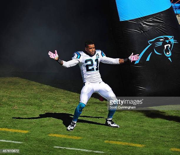 Thomas DeCoud of the Carolina Panthers is introduced before the game against the Chicago Bears on October 5 2014 at Bank of America Stadium in...