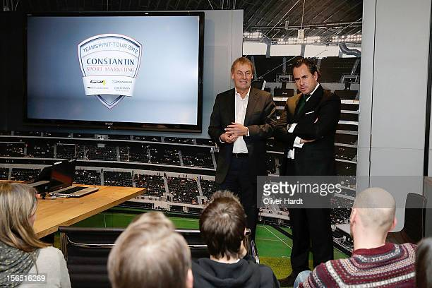 Thomas Deissenberger CEO of Constantin Sport Marketing GmbH talks to germany TV moderator Joerg Wontorra for a photo during marketing presentation of...