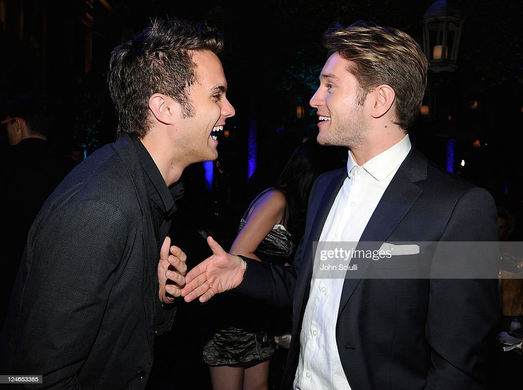 Thomas Dekker and Louis Hunter attend the CW launch party presented by Bing at Warner Bros. Studios on September 10, 2011 in Burbank, California.