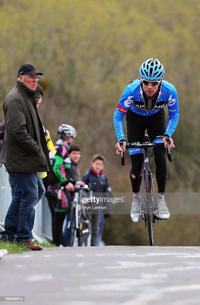 Thomas Dekker of the Netherlands and Garmin-Sharp climbs the Cote de La Redoute ahead of his team during training for the 99th Liege-Bastogne-Liege cycle road race on April 19, 2013 in Liege, Belgium. (Photo by Bryn Lennon/Getty Images).