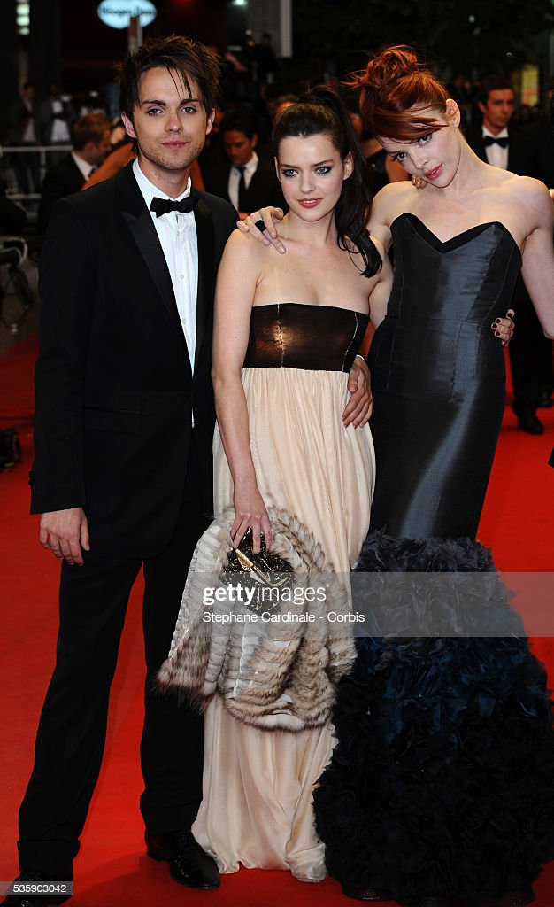 Thomas Dekker, Roxane Mesquida and Nicole LaLiberte at the premiere of 'Kaboom' during the 63rd Cannes International Film Festival.