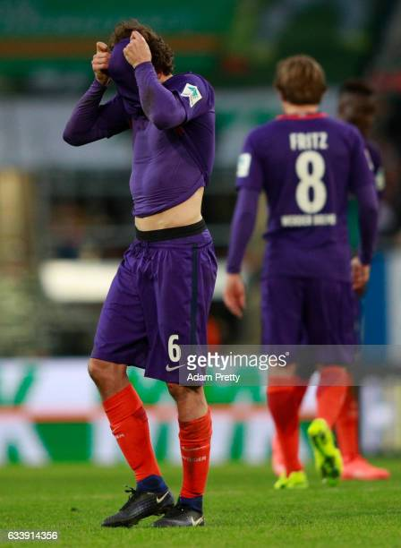 Thomas Delaney of Bremen reacts during the Bundesliga match between FC Augsburg and Werder Bremen at WWK Arena on February 5 2017 in Augsburg Germany