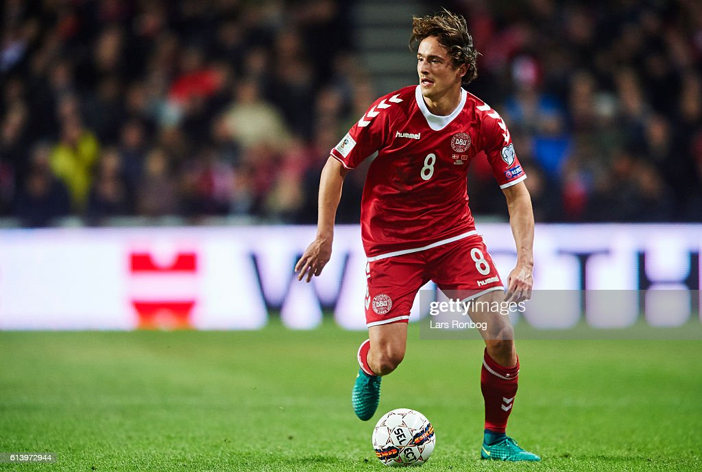 Thomas Delaney of Denmark controls the ball during the FIFA World Cup 2018 european qualifier match between Denmark and Montenegro at Telia Parken Stadium on October 11, 2016 in Copenhagen, Denmark.