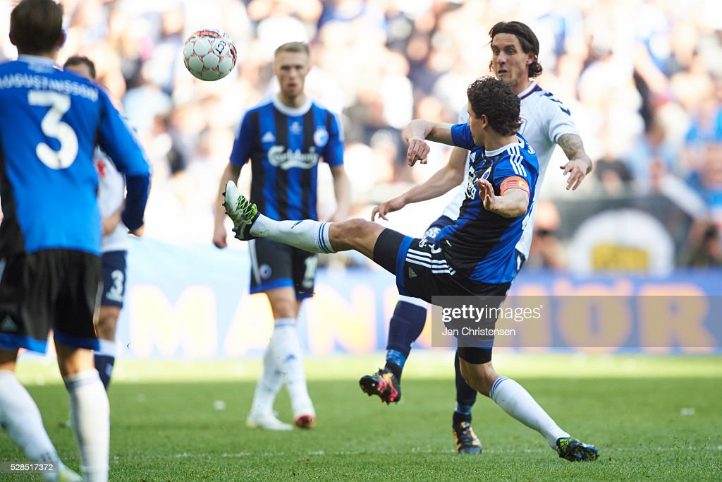 Thomas Delaney of FC Copenhagen and Daniel A. Pedersen of AGF Arhus compete for the ball during the DBU Pokalen Cup Final match between AGF Arhus and FC Copenhagen at Telia Parken Stadium on May 05, 2016 in Copenhagen, Denmark.