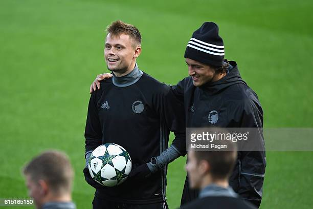 Thomas Delaney of FC Copenhagen and Peter Ankersen of FC Copenhagen in conversation during a FC Copenhagen training session and press conference at...