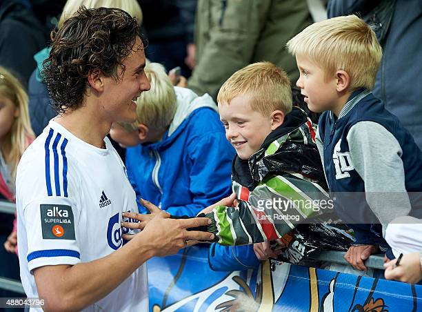 Thomas Delaney of FC Copenhagen celebrate with the young fans after the Danish Alka Superliga match between FC Copenhagen and AaB Aalborg at Telia...