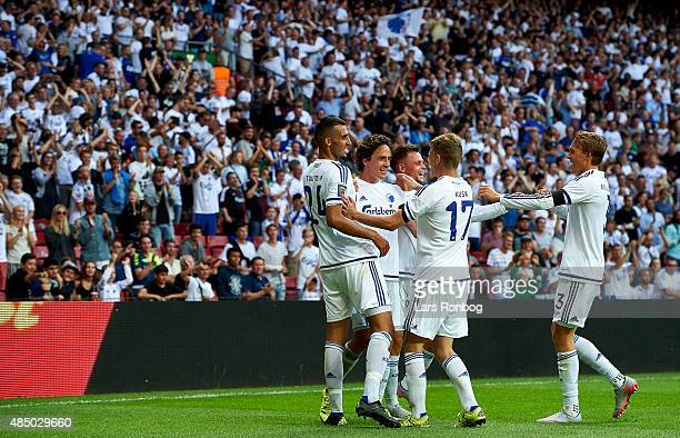 Thomas Delaney of FC Copenhagen celebrates after scoring their second goal during the Danish Alka Superliga match between FC Copenhagen and AGF...