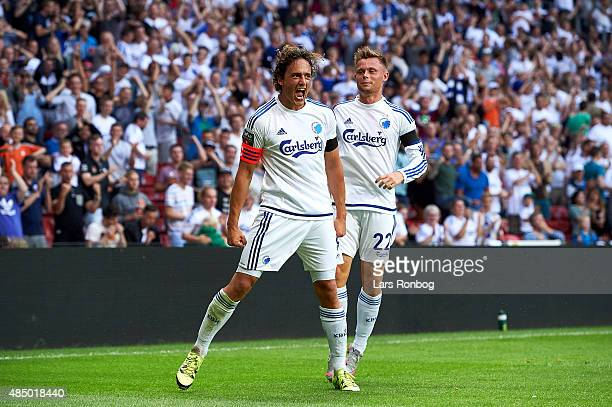 Thomas Delaney of FC Copenhagen celebrates with team mate Peter Ankersen after scoring their second goal during the Danish Alka Superliga match...