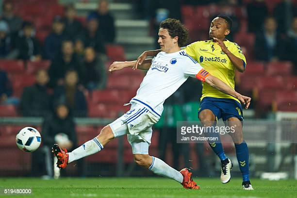 Thomas Delaney of FC Copenhagen compete for the ball during the DBU Pokalen Cup Semifinal match between FC Copenhagen and Brondby IF at Telia Parken...